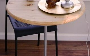 diy bistro table with pedestal base made of wood salad bowl and pipe , crafts, repurposing upcycling