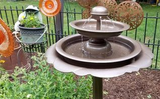 new water feature from old birdbath and rusted fountain, outdoor living, ponds water features, repurposing upcycling