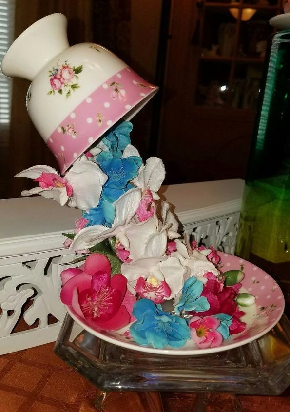 Overflowing teacups with silk flowers hometalk for Fake flowers for crafts