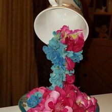 overflowing teacups with silk flowers, crafts, repurpose household items