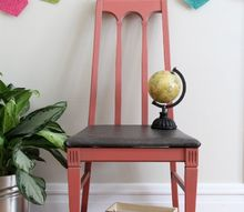 coral and leather chair makeover, chalk paint, painted furniture, reupholster