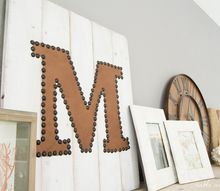 easy distressed leather nailhead monogram, crafts, how to, wall decor