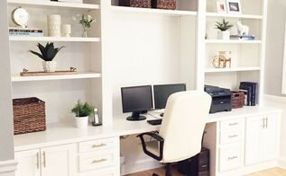 built in desk reveal, home decor, home improvement, home office, how to, living room ideas, painted furniture, woodworking projects