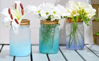 coastal cloud painted mason jars, container gardening, crafts, mason jars, painting