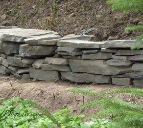 diy stacked stone garden wall concrete masonry landscape outdoor living