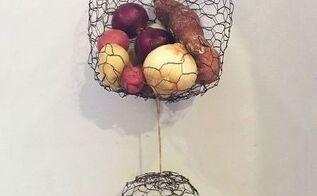 hanging chicken wire fruit produce baskets, crafts, home decor, kitchen design, storage ideas