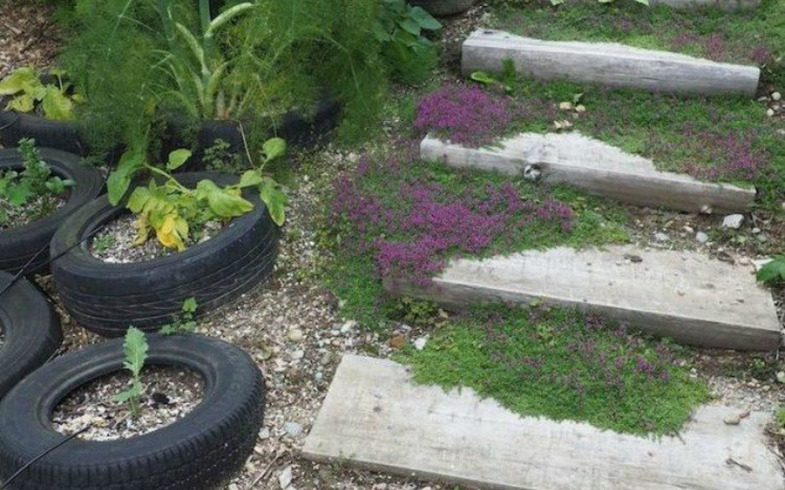 s here s what people are doing with their sloped backyards, gardening, landscape, Upcycle tires as flower pots