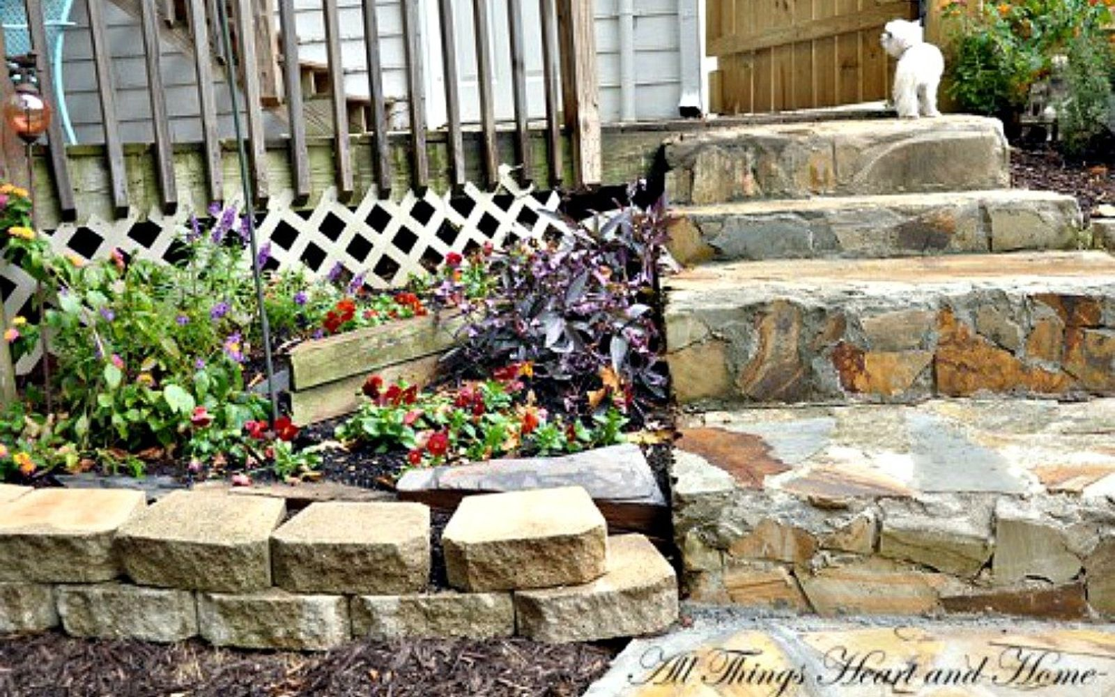 s here s what people are doing with their sloped backyards, gardening, landscape, Add stone steps for a cottage feel
