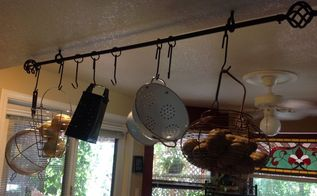 make a pot rack using a drapery rod , organizing, repurposing upcycling, storage ideas