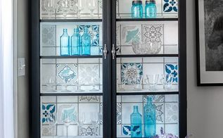 upcycled glass cabinet, kitchen cabinets, kitchen design, painted furniture