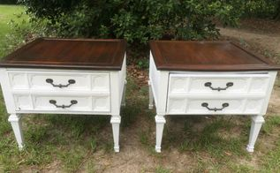 farmhouse style end tables using old fashioned milk paint daddy vans, painted furniture, rustic furniture