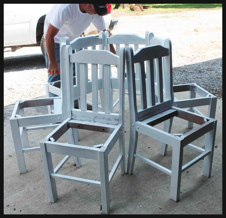 tree bench made from kitchen chairs diy outdoor furniture