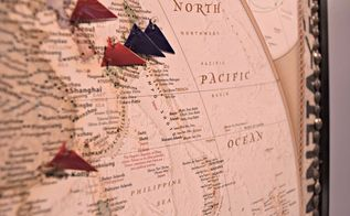 mark your travels with a world map pinboard, crafts, how to