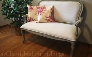 rustic restyled settee, how to, painted furniture, reupholster