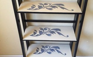 grown up shelf re do from childish to chic using stencils, how to, painted furniture, shelving ideas, All done