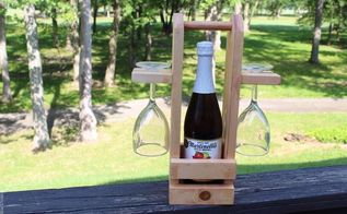 wine caddy with glass holder, crafts, how to, outdoor living, woodworking projects