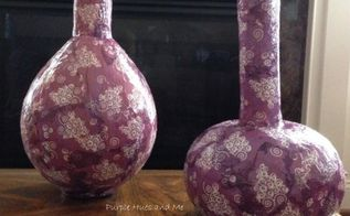 decoupage napkins on paper mache vases, crafts, decoupage