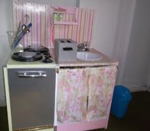 little girl s play kitchen, crafts, Scrapbook paper also made a backsplash