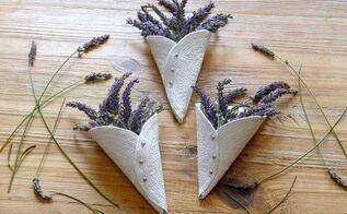 lavender display idea diy air drying clay cones, crafts