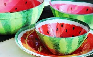 watermelon bowls diy, crafts, how to, painted furniture, painting