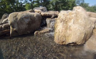 natural stone waterfall in swimming pool, outdoor living, ponds water features, pool designs