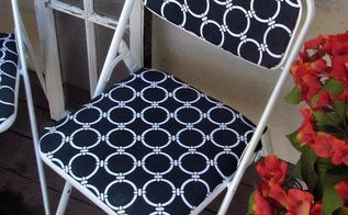 blue and white folding chair makeover, how to, painted furniture, painting, reupholster