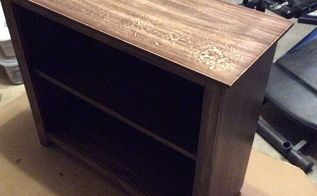 rummage sale bookshelf transformation ongoing, decoupage, painted furniture, shelving ideas