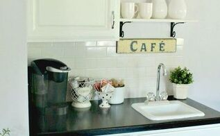 diy farmhouse beverage bar, kitchen cabinets, kitchen design, painted furniture, shelving ideas