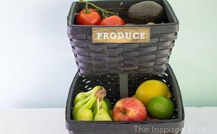 turn baskets into produce storage, crafts, organizing, painting, storage ideas