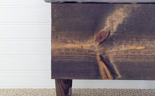 diy leather storage ottoman, how to, painted furniture, rustic furniture, reupholster, woodworking projects