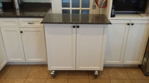 Kitchen Cabinet Turned Roll Away Cart Moveable Island Hometalk