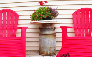 an old milk can recycle into an outdoor end table , how to, outdoor furniture, outdoor living, painted furniture, repurposing upcycling