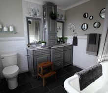 before and after grey and white traditional bathroom makeover, bathroom ideas, home decor, home improvement, small home improvement projects, tiling