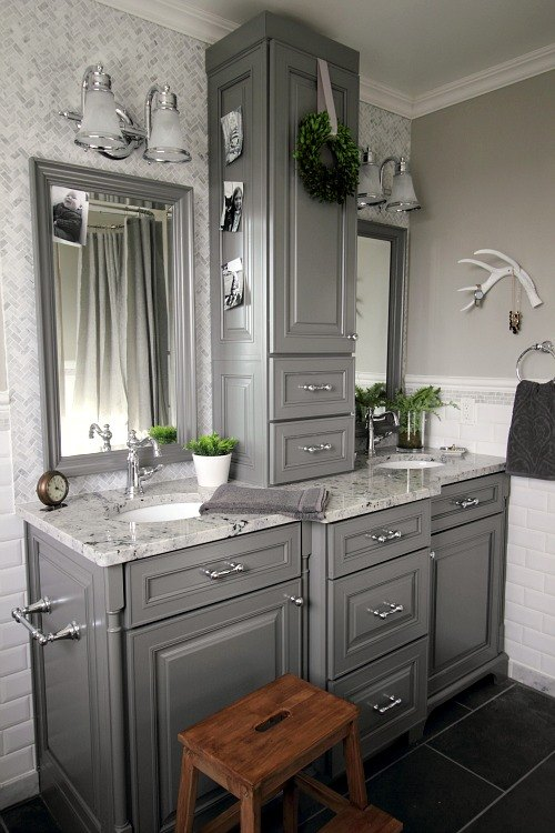 Before and after grey and white traditional bathroom for Grey white bathroom ideas
