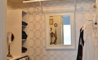 glamorous closet makeover, bedroom ideas, closet, lighting, organizing, wall decor