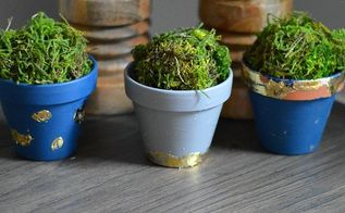 easy gold leaf plant pots, container gardening, crafts, gardening, how to