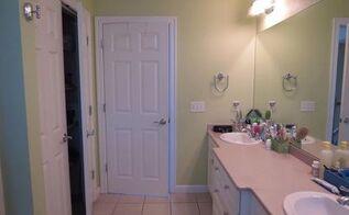 diy bathroom makeover, bathroom ideas, shelving ideas, Pink ish Corian counter tops and green walls