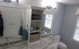diy bathroom makeover, bathroom ideas, shelving ideas