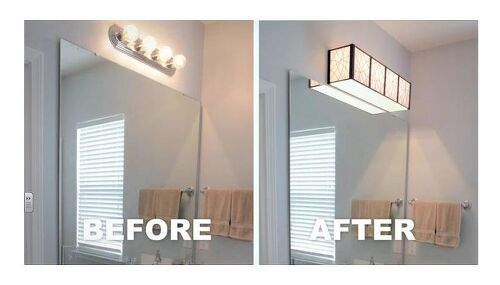 Make a cover for them. - Light Fixture Upgrade On A Budget Hometalk