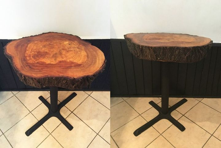 Tree trunk dining room tables hometalk for Tree trunk dining room table
