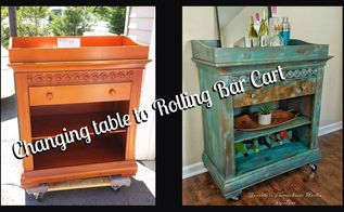 changing table to rolling beverage cart , chalk paint, painted furniture, painting, repurposing upcycling