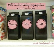 recycled milk cartons pantry organization, how to, organizing, repurposing upcycling