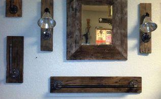 rustic industrial 7 piece bathroom set, bathroom ideas, crafts, how to, pallet, repurposing upcycling, rustic furniture
