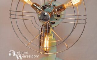 refurbished mid century fan turned lamp, how to, lighting, repurposing upcycling