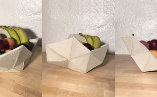 geometric cement fruit bowl, concrete masonry, crafts, how to, living room ideas