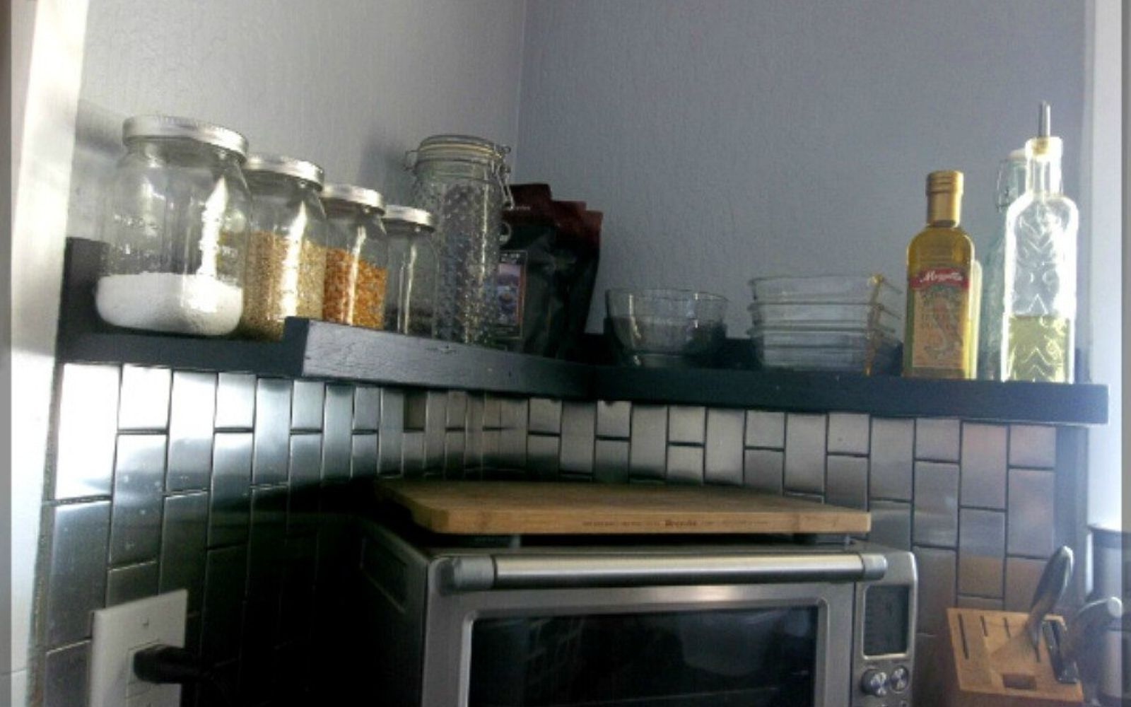 s 12 space saving solutions for your tight kitchen, kitchen design, shelving ideas, Build a ledge shelf for everyday items