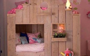 q pallet girls bed house, bedroom ideas, pallet, repurposing upcycling, woodworking projects