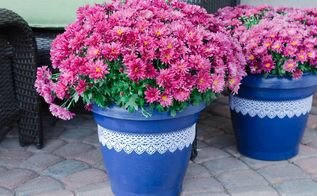 turn plastic plant pots into beautiful painted lace decoupage d cor, container gardening, crafts, decoupage, gardening, painting