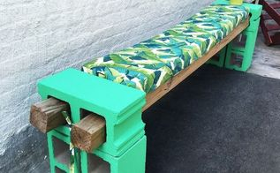 cement block bench and bench cushions, concrete masonry, how to, outdoor furniture, painted furniture, reupholster
