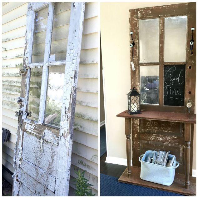 Repurposed door hall tree hometalk for Reuse old wooden doors